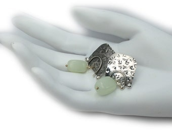 Post earrings in solid sterling silver with jade   One of a kind by Cathleen McLain FREE SHIP