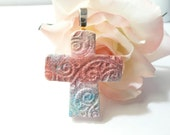 Easter Cross Pendant, Christian Jewelry, Faith Jewelry, First Communion Confirmation Baptism Gift, aqua pink peach, polymer clay
