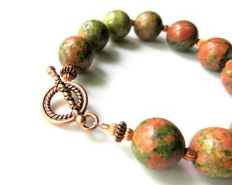 Copper Unikite Beaded Bracelet, Green Unikite Boho Bracelet, Rustic Gemstones, Orange and Green Bracelet with Copper, Unique Beaded Jewelry