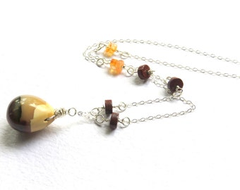 Mookaite Pendant Necklace, Sterling Silver and Mookaite Chain Necklace, Gemstone Fashion Necklace, Mookaite Wire Wrapped Earthtone Jewelry