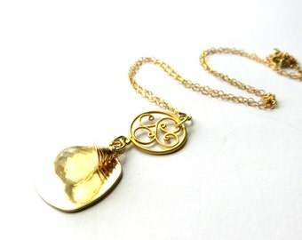 Citrine Pendant Necklace - Gold Fill Chain Necklace - AA+ MicroFaceted Citrine Necklace