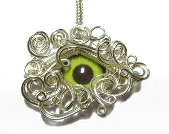 Taxidermy Green Zombie Glass Eye Pendant - Silver Wire Wrap Human Eyeball Jewelry with Necklace