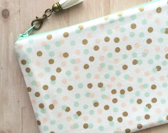 Polka dot makeup bag - large zipper pouch - mint and gold cosmetics bag - planner pouch - tassel charm - cute makeup bag - pencil pouch