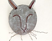Quirky Stoneware Rabbit Mask for Home Decor