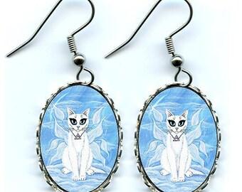 Air Fairy Cat Earrings Elemental White Fairy Cat Fantasy Cat Art Cameo Earrings 25x18mm Gift for Cat Lovers Jewelry