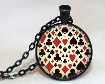 Card Shark Pendant, Necklace or Key Chain - Choice of 4 Bezel Colors