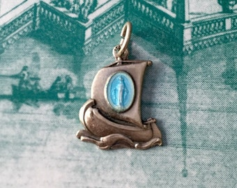 Vintage MIRACULOUS BOAT CHARM Virgin Mary Sail Boat Italy