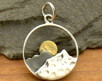 Sterling Silver Mountain Range Pendant with bronze sun - Travel Jewelry - Sunrise Sunset - Mountains - DIY Jewelry - Add to your necklace -