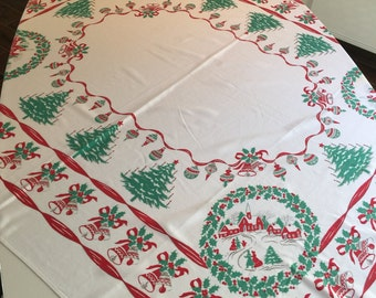 Vintage Holiday Tablecloth - Red Bells, Wreaths, & Christmas Tree Xmas Holly and Red Ribbon Trim- Ice Skating Scene Table Linen