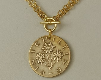 Austria Coin Necklace 1963 Schilling Edelweiss Flowers