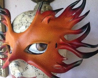 Fire Elemental Mask,  leather mask by Faerywhere
