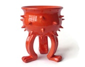 Bright Red/Orange  Grouchy Planter Pot with Spikes and Sculpted Feet