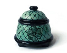 Black and Turquoise Doodle Design Salt Jar Stash Jar Sugar Jar