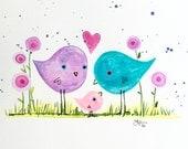 Small Family Cute Birds original painting