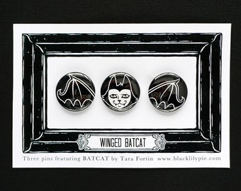 Winged Batcat Pin Set -Three one inch buttons on illustrated card