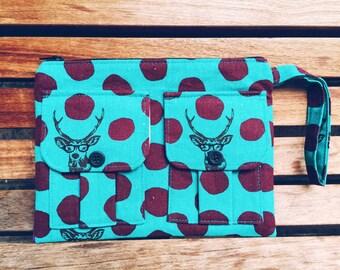 Samber Bucks Teal Wristlet, Wallet Wristlet, iPhone Wristlet, Women's Wristlet Purse, Zipper Wallet