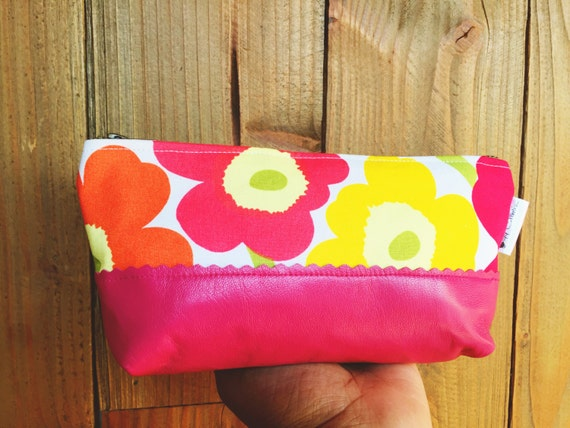 Leather Cosmetic Bag, Pink Floral Makeup Bag, Leather Zipper Pouch, Travel Cosmetic Bag, Beauty Bag