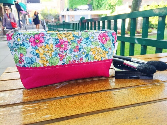 Pink Floral Leather Makeup Bag, Leather Cosmetic Bag, Toiletry Bag, Leather Clutch, Leather Pouch
