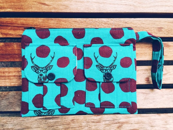 Bucks Teal Wristlet Wallet, Cell Phone Wristlet, Wristlet Purse, Large Wristlet, Zippered Wallet