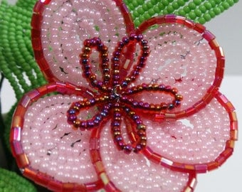 Beaded Flowers Pink Poppies