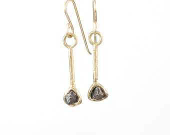 Meteorite Earrings in Yellow Gold - Size Medium