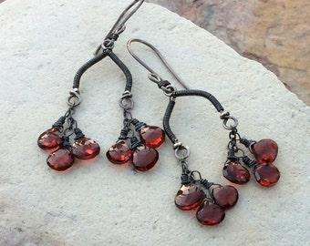 GARNET earrings, Red Garnet chandelier earrings with sterling silver, handmade artisan jewelry, AngryHairJewelry