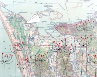 Astoria / 15 x 15 Map Painting / Paper Airplane Art / Oregon Coast / Map Art / Modern Decor / Modern Nursery