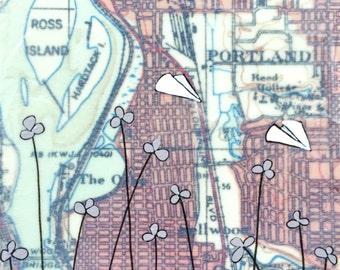 Ross Island - Original Map Painting 5 x 5 - Paper Airplane Art
