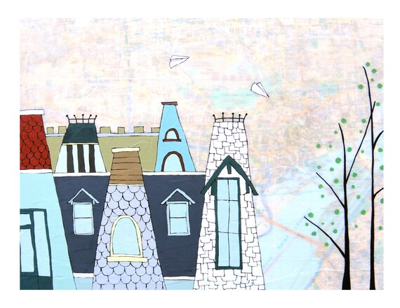 Montreal Map Print // Travel Art // Canada Art // Paper Airplane Art // Modern Decor // Modern Kid Art // Rooftop Art // Rachel Austin 11x14