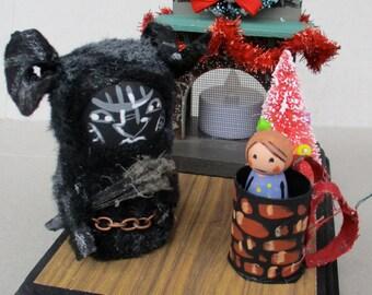 "Krampus Santas sidekick ""fireside chat""handmade display"