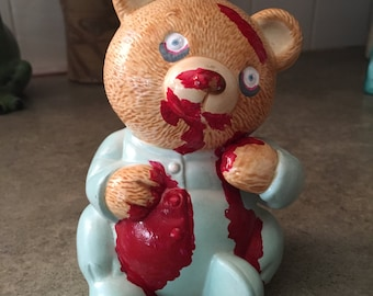Zombie Teddy in his PJs Ceramic Bank Repurposed Vintage