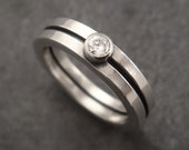 Square Wire Engagement Ring with Faceted Moissanite