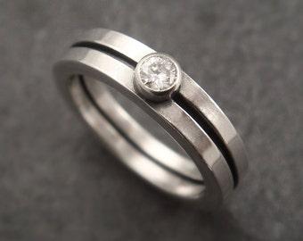 Engagement Ring, Bauhaus Modern Wedding Band, Silver Wedding Band, Silver Engagement, Diamond Engagement, Moissanite Engagement, Womens Ring