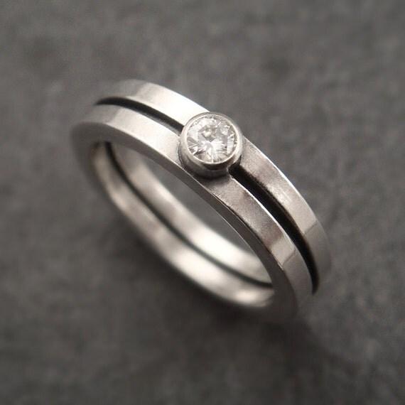 Engagement Ring Bauhaus Modern Wedding Band Silver Wedding