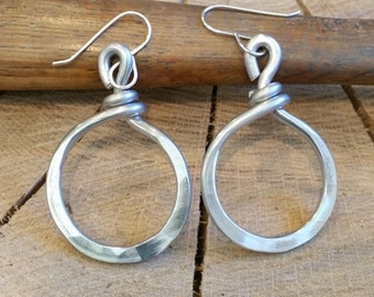 Simple Loop Hoop Earrings, Hand Forged Light Weight Aluminum Jewelry, Simple Hammered Hoops, Women, Modern Urban Jewelry Gift for Her