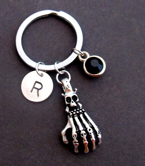 Skeleton Hand Keychain,Skeleton hand charm keychain with Personalize Birthstone & Initial,Skeleton Bones Halloween Keyring,Free Shipping USA