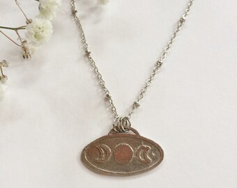 Triple Moon Necklace made of Etched Nickel Silver