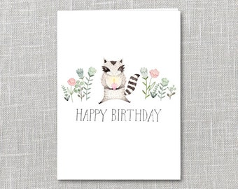 Birthday Raccoon Printable Notecard Instant Download PDF