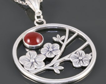 Sunrise Over Sakura Sterling Silver Pendant with Chain - Carnelian - Cherry Blossoms - Necklace - f16p007