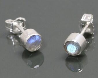 Labradorite Stud Earrings. Sterling Silver. Genuine Gemstones. Tube Settings. 4mm Faceted Round. f15e014