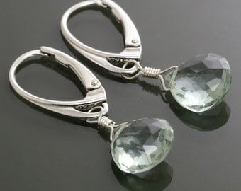 Mint Green Quartz Earrings with Sterling Silver Lever Back Ear Wires f15e026