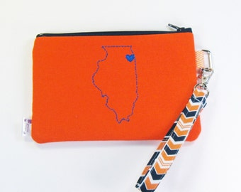 Wristlet Purse / Wristlet Clutch / Cell Phone Wristlet - Chicago Love - Orange and Blue