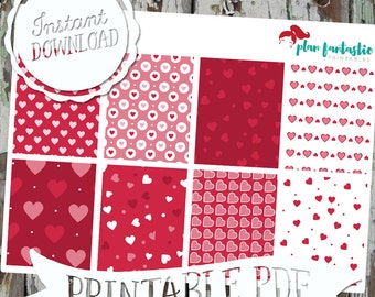 Hearts Aflutter Valentine EC Full Boxes - Printable Planner Stickers - PDF