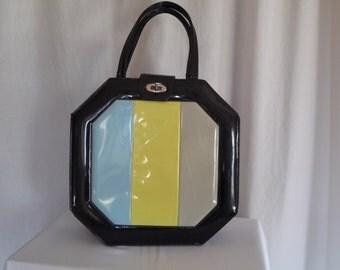 Vintage 70s Mod Space Age Colorblock Octagonal Large Patent Vinyl Handbag