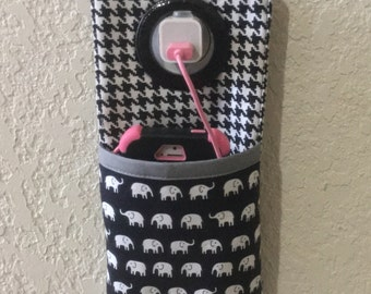 iPhone , iPod Touch, Docking Station /  wall Socket Holder / cell phone charger holder **Tiny Elephants **