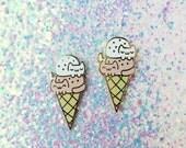 Double Dip Cat Cream Cone • Hard Enamel Lapel Pin