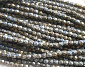 Czech Fire Polished Faceted Matte Iris Brown Glass Round Beads 4mm 50pcs