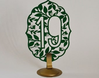Laser Cut Table Numbers: Tree 1-10