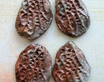 Petrified Coral Fragment Pendants - 4 pieces