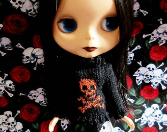 Blythe Sweater with Orange Glittery Skull